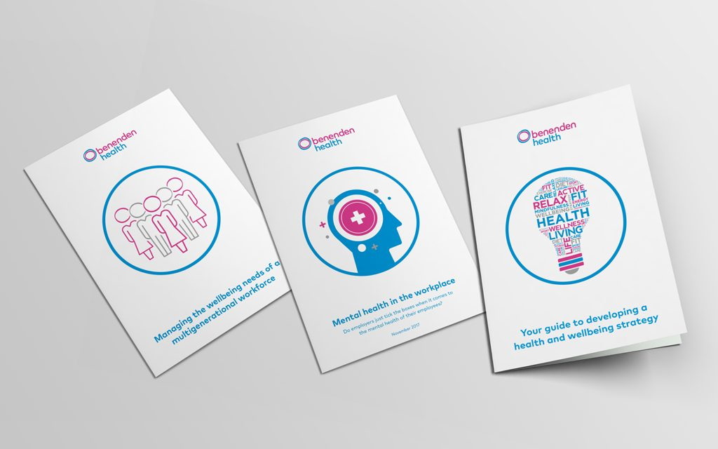 3 cover images of benenden health white paper content as part of their content strategy