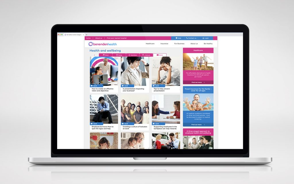 Example of benenden health blog posts as part of their content strategy