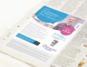 Press ad for Benenden Health featuring male patient