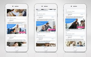 3x mobile screenshots of Benenden social content posts on LinkedIn