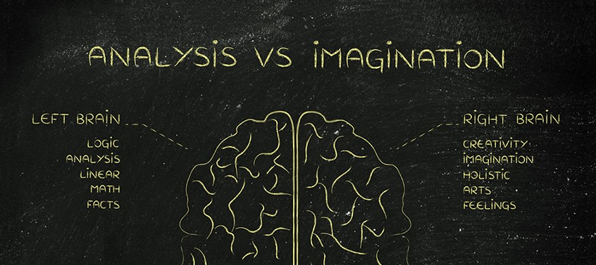 image of left and right side of brain showing creativity vs. data analytics