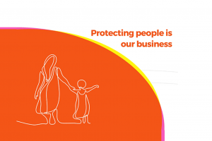 Illustration from Ellipse's brand redesign, of mother and child with text 'protecting people is our business'