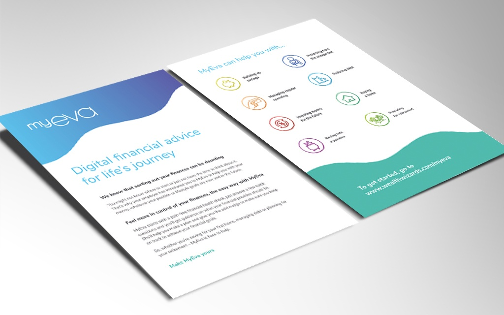 layout of myeva leaflet as part of brand launch campaign