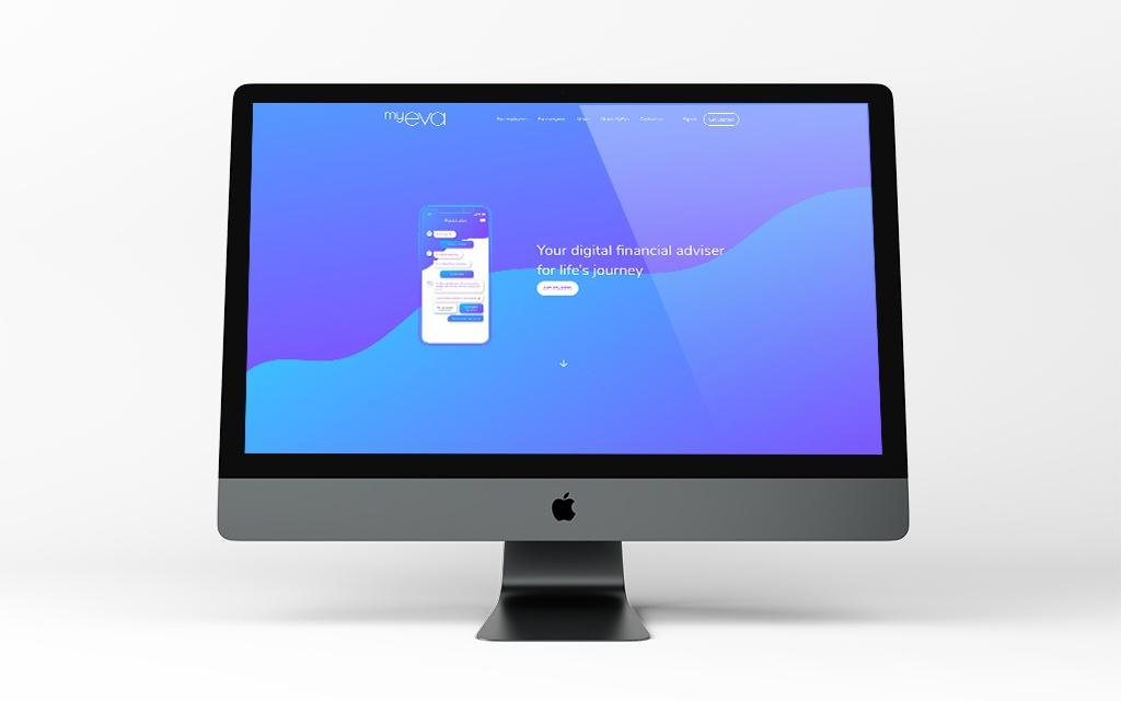 website screenshot of MyEva financial app design and creation