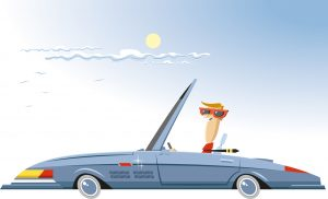 Illustration of person driving in a convertible car
