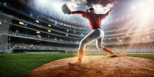 Baseball pitcher on stadium