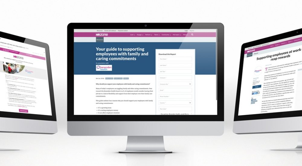 screenshots from hrzone.com as part of content strategy trade media partnership