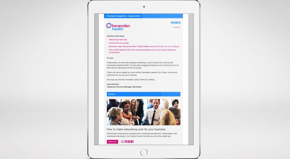 Benenden Health email screenshot as part of brand identity redesign