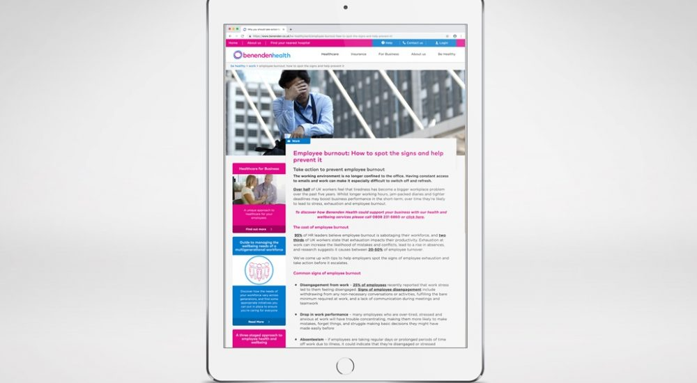 Example of benenden health blog post as part of their content strategy