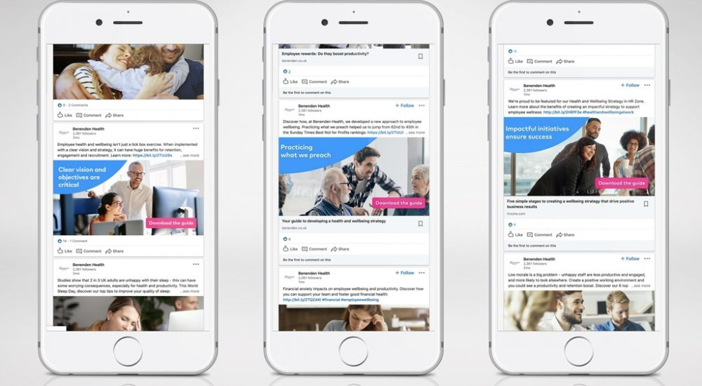 3x mobile screenshots of Benenden social content posts on LinkedIn
