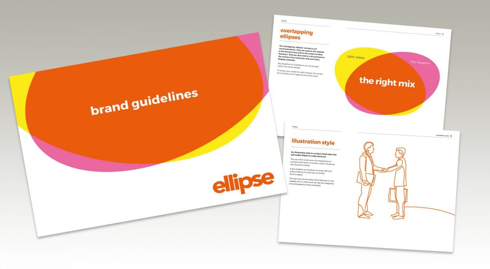 cover and two inside pages of Ellipse brand guidelines from brand redesign