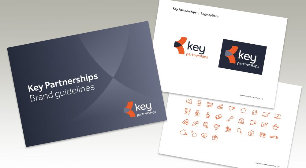 image of 3 pages from key partnerships brand guidelines