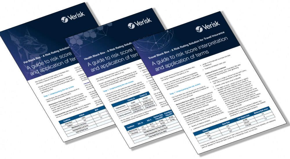 3 examples of leaflets created for Verisk Risk Rating