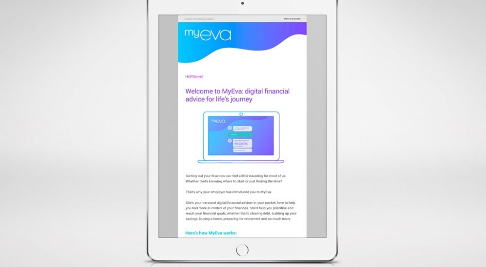 screenshot of MyEva launch email as part of launch campaign